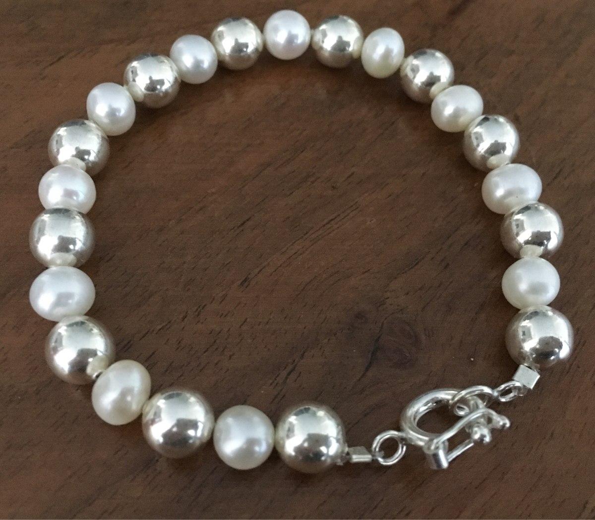 0062def8a507 pulsera perlas naturales y plata. Cargando zoom.