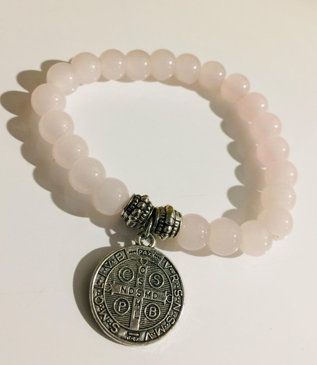 3e853ef3474a pulsera perlas rosadas fantasía con dije de acero. Cargando zoom.