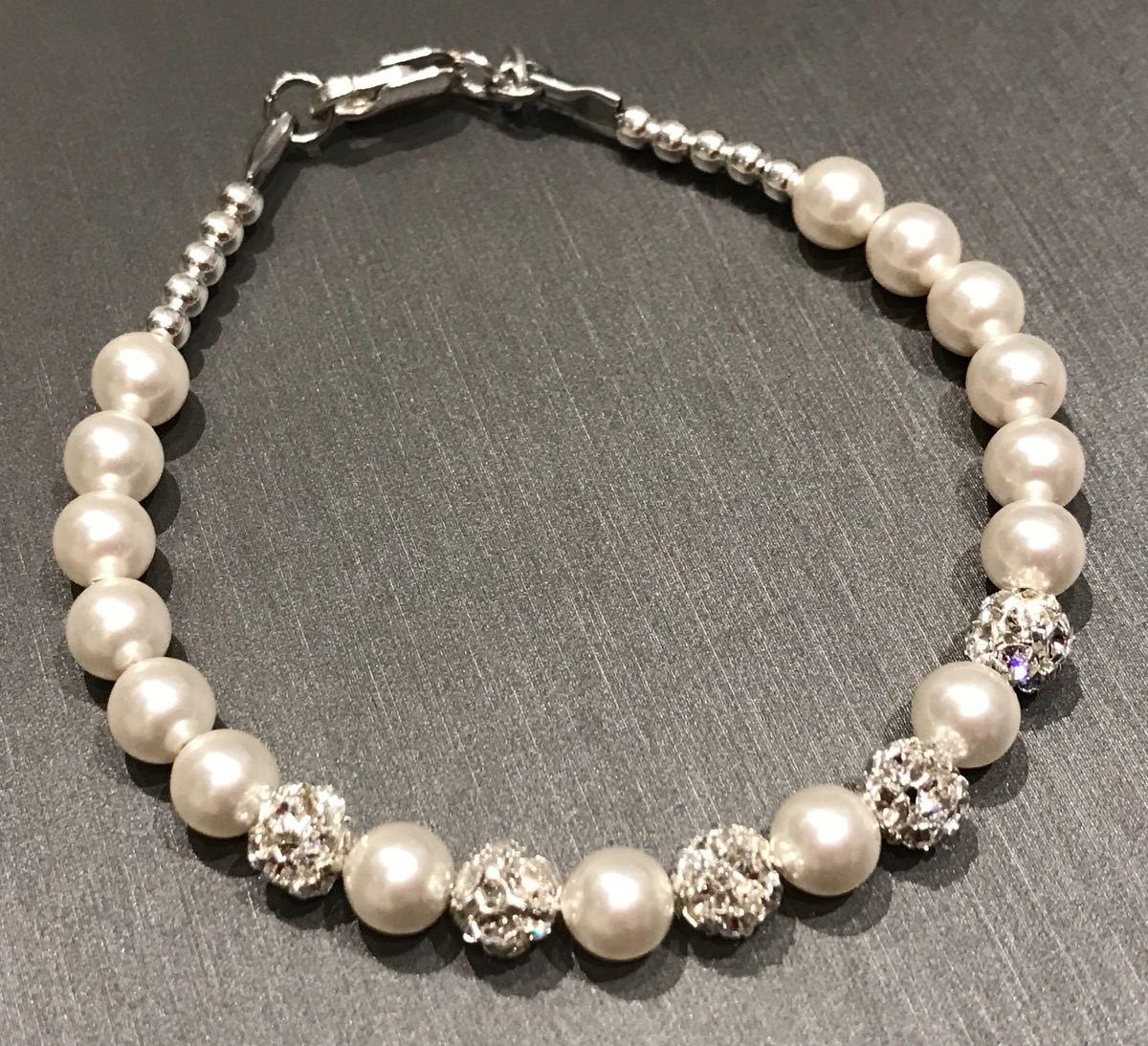 59dd4211d445 pulsera perlas y cristales swarovski plata 925 novias mujer. Cargando zoom.