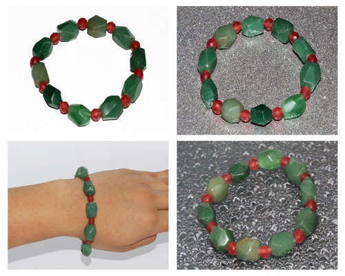pulsera piedra natural aventurina verde cuarzo rojo  ppn419