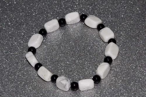 pulsera piedra natural cuarzo blanco onix chakras ppn409