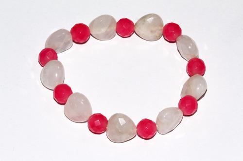 pulsera piedra natural cuarzo rosa y blanco chakras ppn269