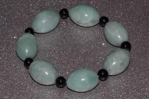 pulsera piedra natural cuarzo verde y onix chakras ppn417