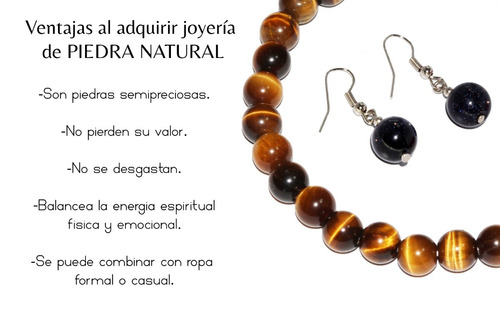 pulsera piedra natural jaspe ojo de tigre chakras ppn570
