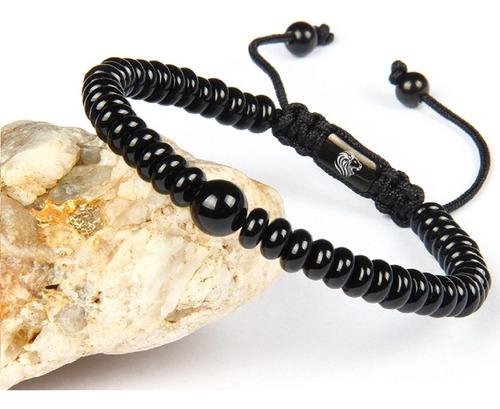 pulsera piedra natural onyx negra hombre mujer ajustable