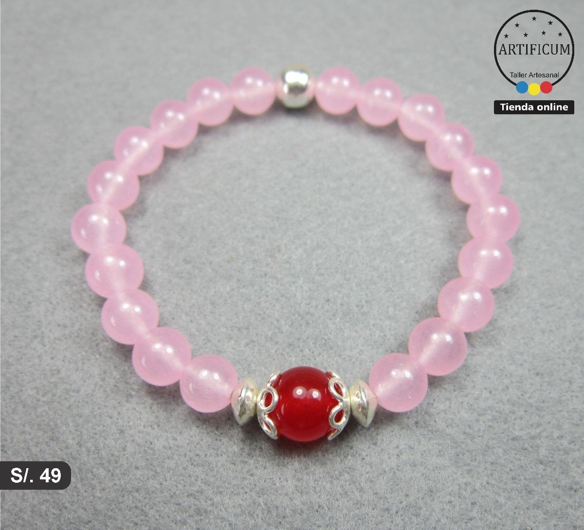 Pulsera piedras naturales cuarzo rosa y cornalina plata - Propiedades piedras naturales ...