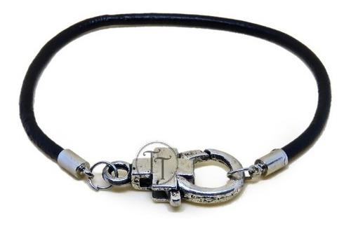 pulsera piel broche cruz silver alloy 925