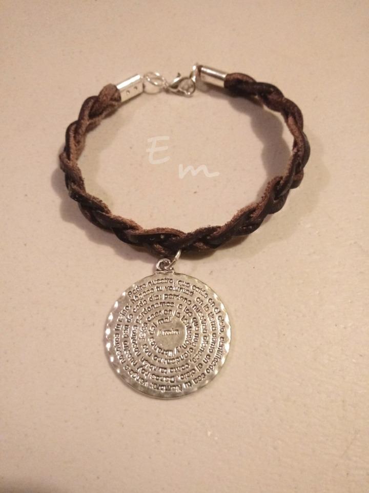 472fb345d425 Pulsera Piel Medalla Padre Nuestro Recuerdo 10 Pzas