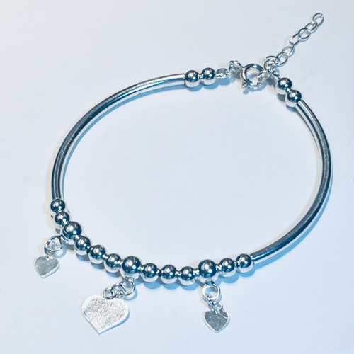 pulsera plata 925 bolitas -  pupl305 garantía