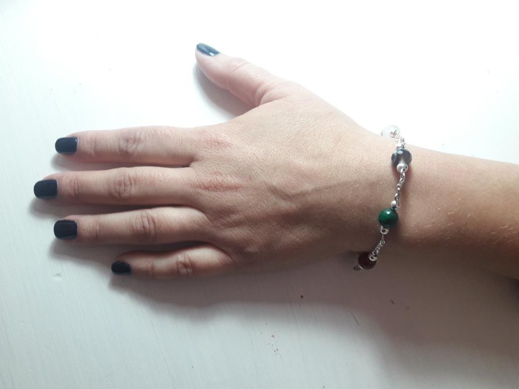 9cec7d052664 pulsera plata 925 con bolas piedras de diferentes colores. Cargando zoom.