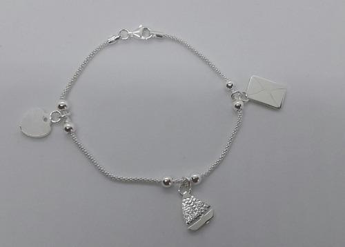pulsera plata 925- con dijes corazon barco carta- 18 cms