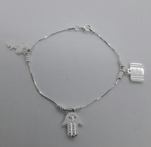 pulsera plata 925- con dijes llave mano valija- 18 cms