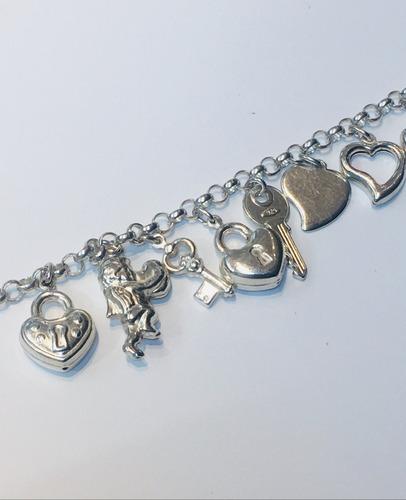 pulsera plata 925 dijes varios pupl291 garantía pupl291