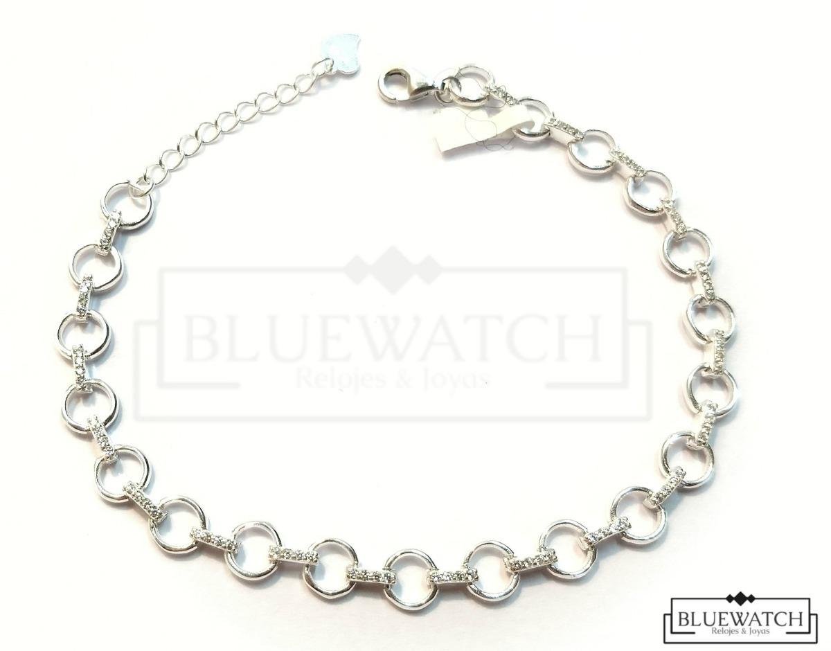 2559a8417d08 pulsera plata 925 eslabon redondo con piedra brillante. Cargando zoom.