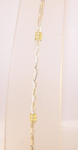 pulsera plata 925 maciza c/ oro cardano 18cm 4mm mujer