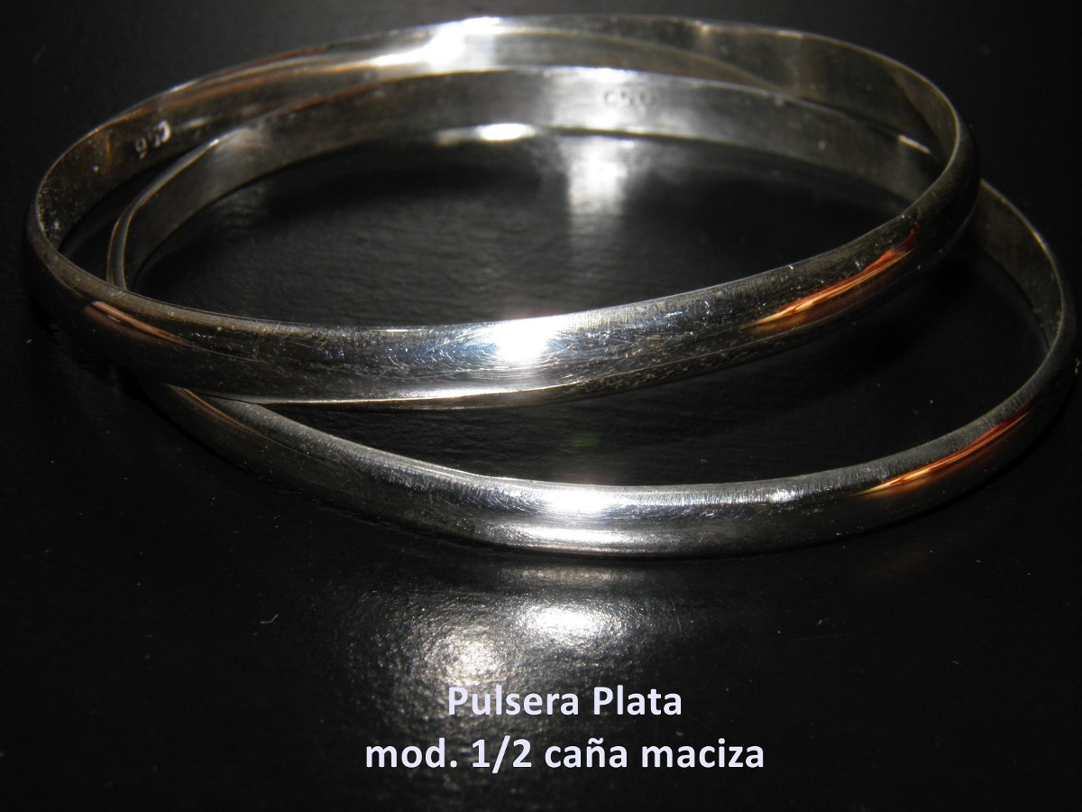 ca09acdc4b62 pulsera plata 925 maciza esclava media caña hecho a mano. Cargando zoom.