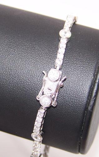pulsera plata 925 rodinada c/ cubic engarzado 20cm