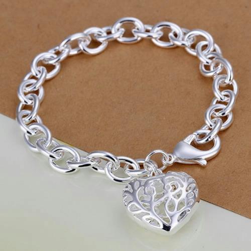 pulsera plata 925 sellada corazón divina