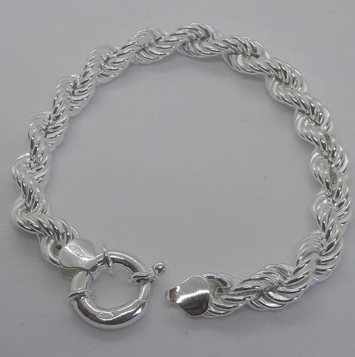 pulsera plata 925- turbillon importante- cierre marinero- 19