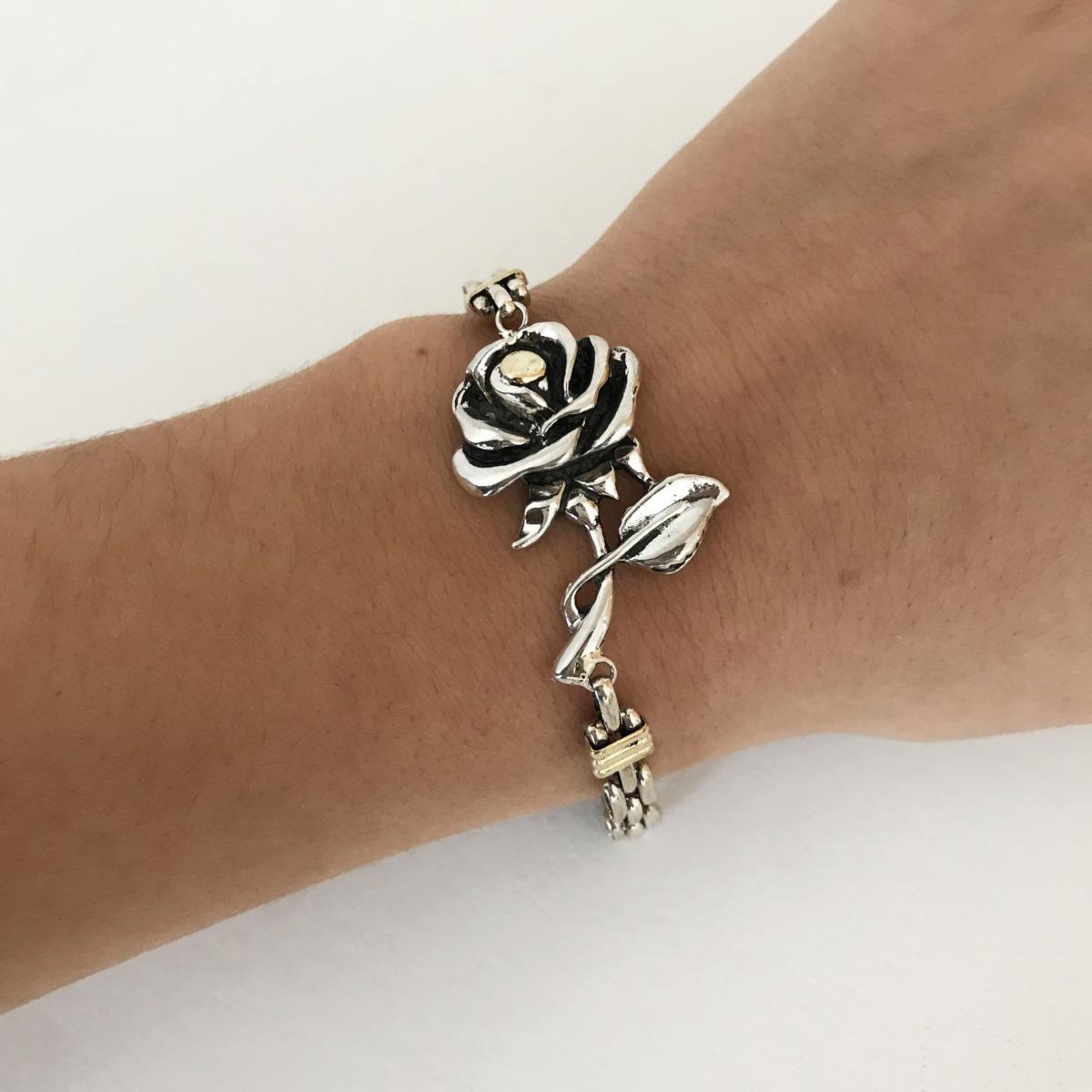 c9e9430b5d70 pulsera plata y oro flor maciza garantía escrita regalo. Cargando zoom.