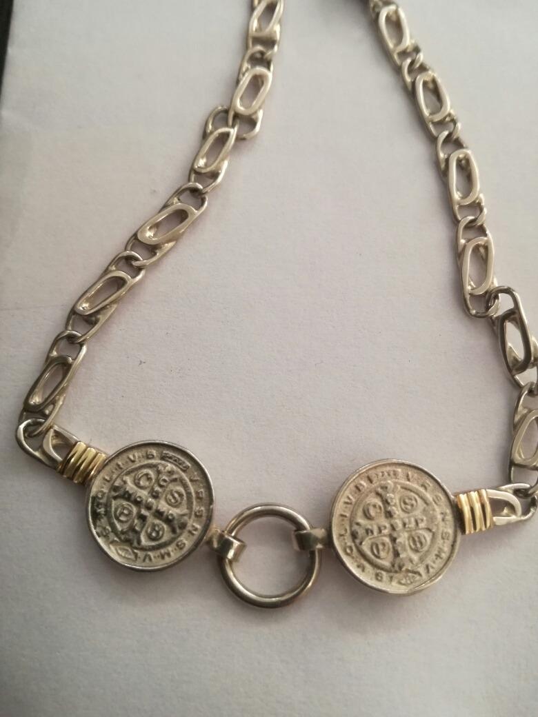 85816006359 pulsera plata y oro modelo san benito. Cargando zoom.