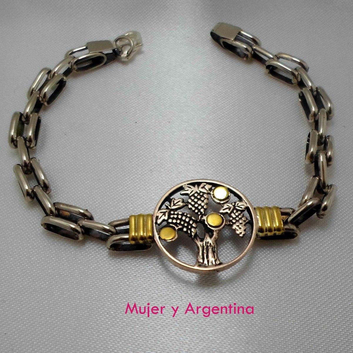 45f0b1b77c60 Pulsera Plata Y Oro Panther Con Dije Central. Largo 19 Cm -   824
