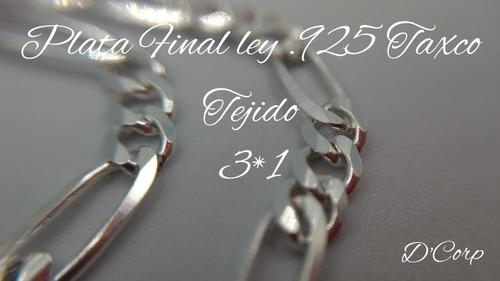 pulsera pulso plata fina 925 caballero 3*1 hombre 6mm
