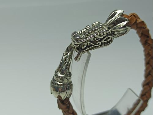 pulsera quetzalcoatl piel de res trenzada acero inox syklus