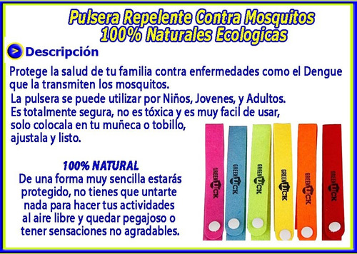 pulsera repelente mosquitos naturales ecologicas