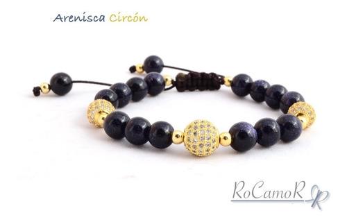 pulsera #rocamor venturina azul y circón en cobre ch. oro