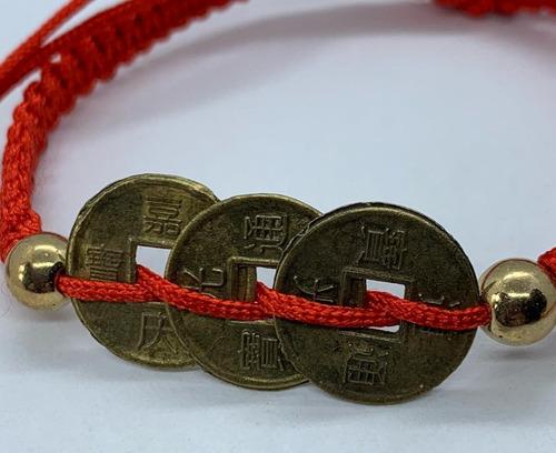 pulsera roja de protección monedas chinas tamaño adulto