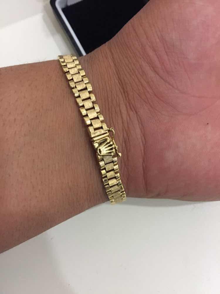 bfff0272dfbe pulsera rolex 18 o 20 cm de largo plata con baño de oro 14k. Cargando zoom.