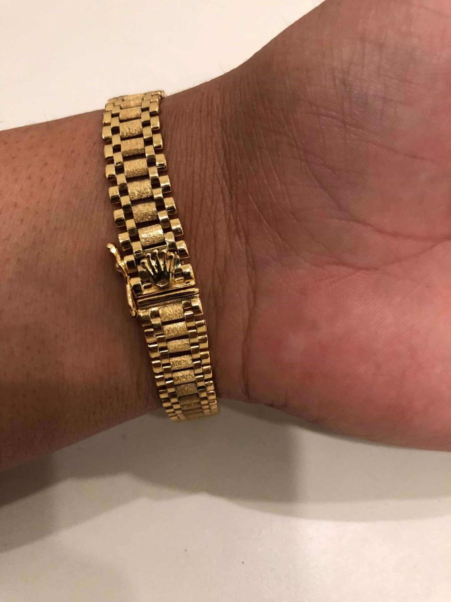 92aee1727b73 Pulsera Rolex En Plata Con Baño De Oro De 14k