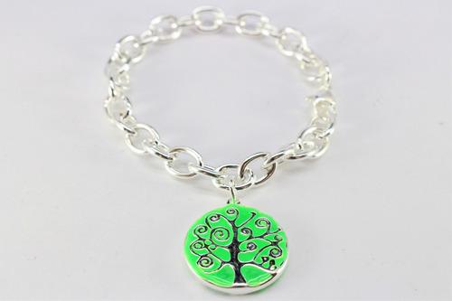pulsera rolo acero blanco dije árbol esmalte varios colores