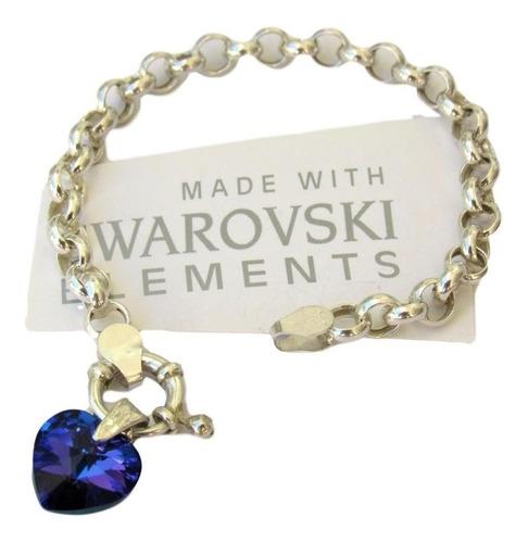 pulsera rolo con dije corazon cristal swarovski plata 925