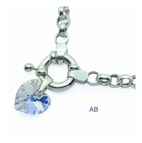 pulsera rolo plata 925 dije cristal de swarovski 14 mm