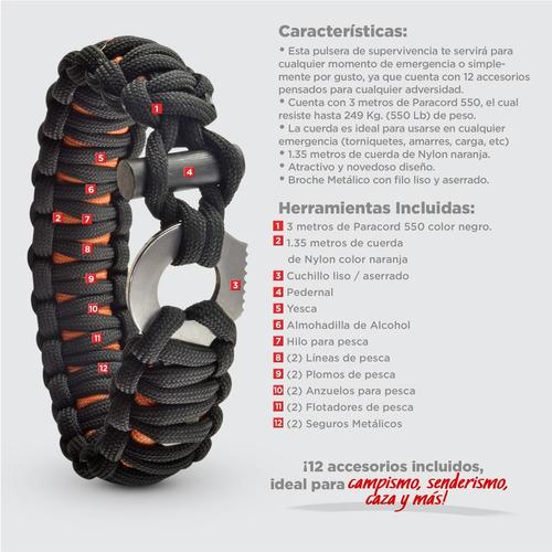 pulsera superv. paracord con 12 accesorios (par-016-006)