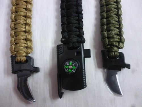 pulsera supervivencia 4 en1 paracord pedernal brújula navaja