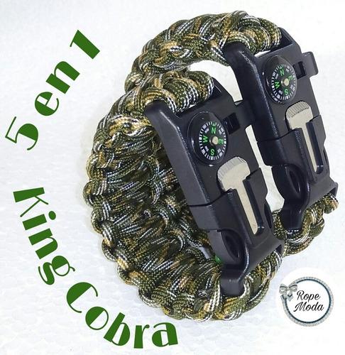 pulsera supervivencia 5 en 1 king cobra brazalete paracord