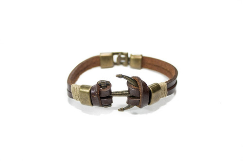 pulsera synergy con ancla cuero marrón hacc04- bc13