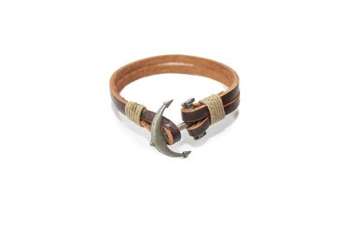 pulsera synergy con ancla cuero marrón hacc04- bc21