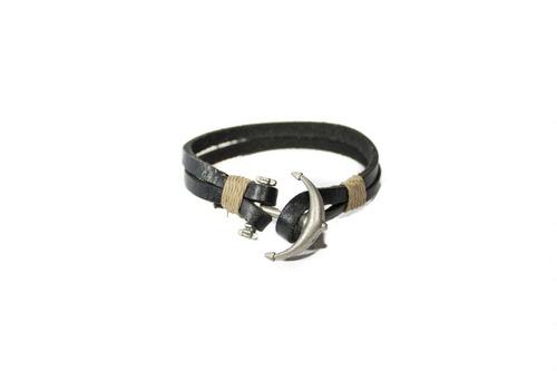 pulsera synergy con ancla cuero negro hacc04- bc21