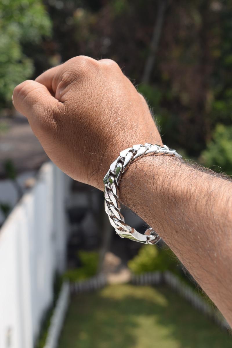 f74ebef73538 pulsera tejido barbado de plata ley .925 para hombre. Cargando zoom.