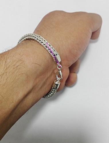 pulsera tejido espiga plata 925 solida