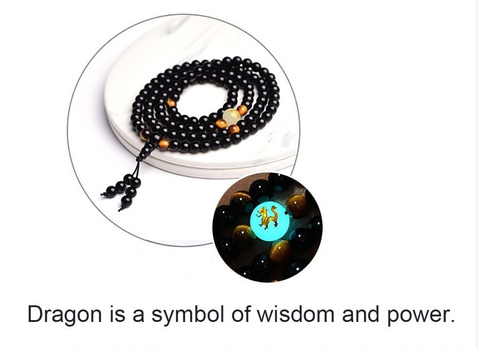 pulsera tibetana piedra dragón brilla buda moda vintage