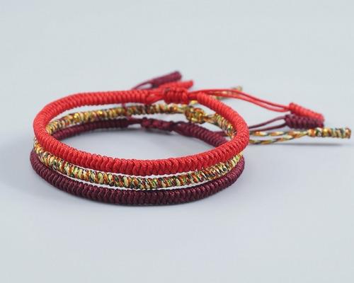 pulsera tibetana  set de 3 piezas, hechas por monjes budista