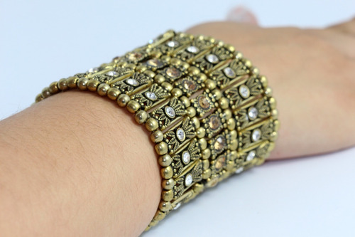 pulsera tipo brazalete color oro viejo y cristales pc32
