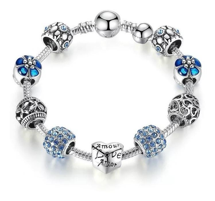 6b88753b317b Pulsera Tipo Pandora C/charms Rosa Blanco Azul Verde 18 Y 20