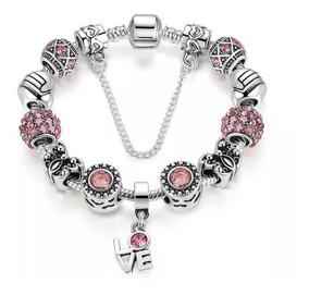 e4b0fbf8b458 Pulsera Tipo Pandora Mujer Con Charms Dije Love