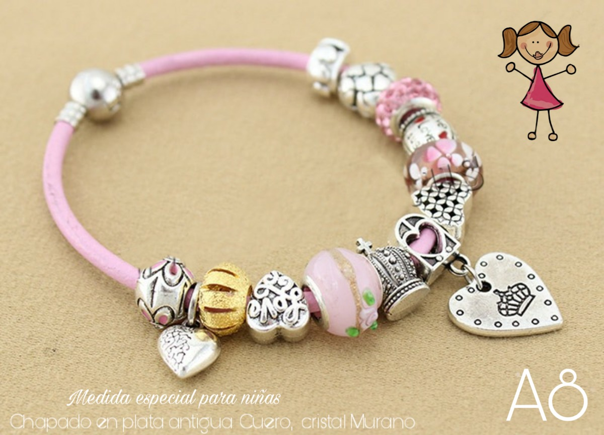 836ed427c94d Pulsera Tipo Pandora Para Niña Cuero Rosa